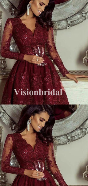 Alluring Burgundy V-Neck Lace Long Homecoming Dresses With Beaded, VB02651