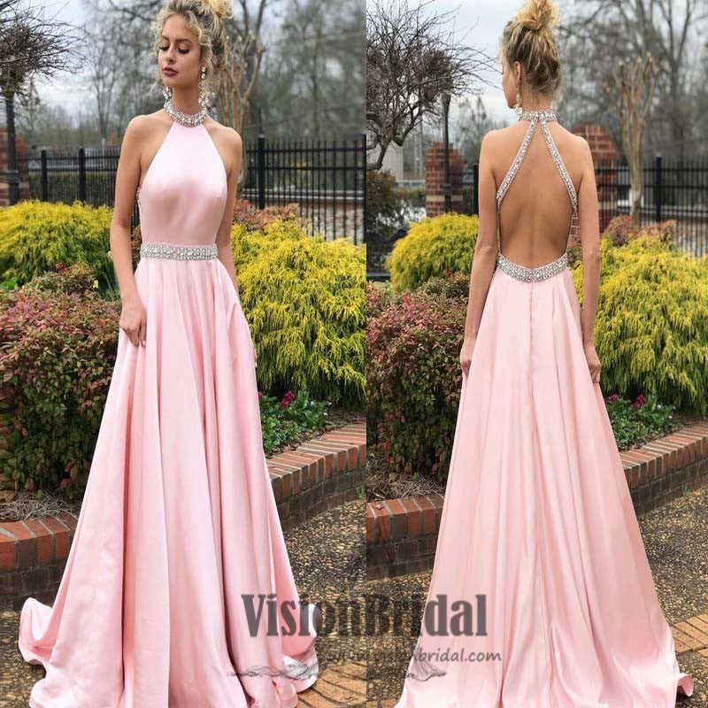 Pink Halter Sleeveless Open Back A-Line Long Prom Dress With Beaded ...