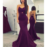 Simple Purple Spaghetti Straps Crisscross Back Long Mermaid Prom Dresses, Sexy Prom Dresses, PD0353