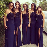 Long Dark Navy Cheap Bridesmaid Dresses,Strapless Simple Bridesmaid Dresses, Unique Bridesmaid Gowns, VB01049