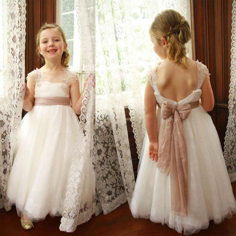53328da5154 Special Cap Sleeve Open Back Lace Flower Girl Dresses With Lace Straps