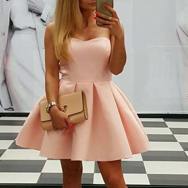 Simple Pale Pink Sweetheart Satin Short Homecoming Dresses Online, Popular Homecoming Dresses, VB01012