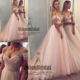 Classy Off The Shoulder With Beaded A-Line Ball Gown, Beautiful Long Tulle Prom Dress, VB0624