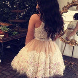 Beautiful Graduation Homecoming Dresses, Two Piece Sleeveless Homecoming Dresses With Appliques, VB01125