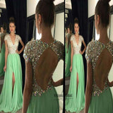 Stunning V-Neck Cap Sleeves Rhinestones Open Back A-Line Long Prom Dress, Sexy Side Slit Prom Dress, VB0489 - Visionbridal