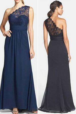 Charming One Shoulder Lace Top Long A Line Chiffon Bridesmaid Dresses Bridesmaid Dresses Vb02014