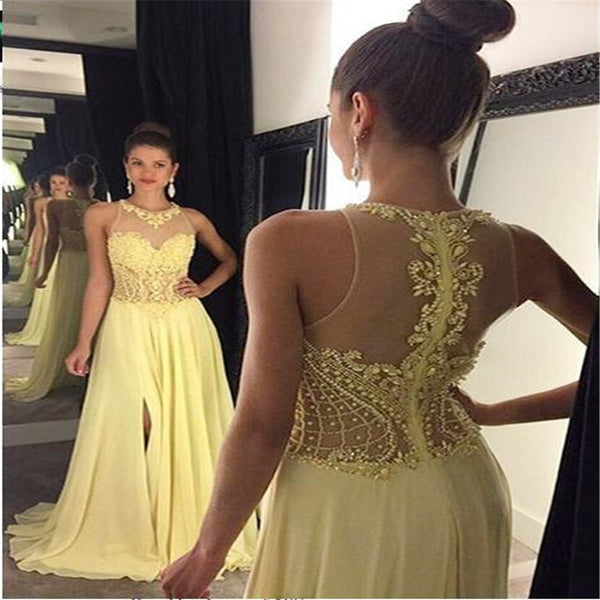 3fa544c16f91 Elegant Yellow Illusion Lace Top Long A-Line Chiffon Prom Dresses With  Beaded, Charming