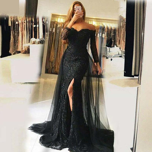 Unique Black Off Shoulder Long Sleeve Long Mermaid Lace Prom Dresses, Side Slit Prom Dresses With Tulle, VB01525