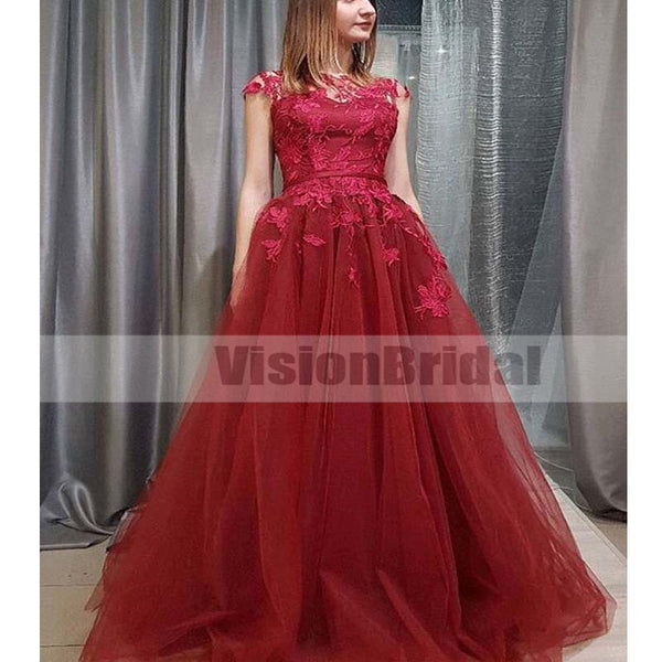 Rose Red Cap Sleeves Lace Illusion Tulle A-line Long Evening Prom Dresses, Prom Dresses, VB0311