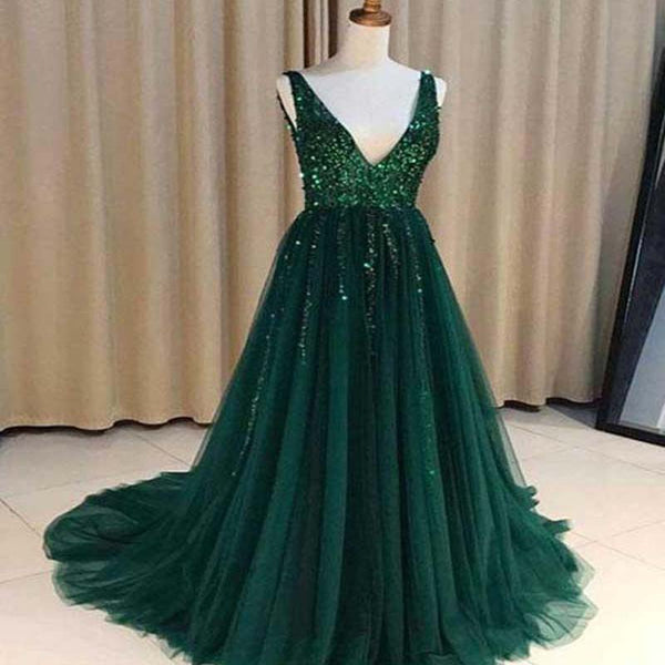 V Neck Emerald Green Tulle A line Long Custom Evening Prom Dresses, Prom Dress, VB0528