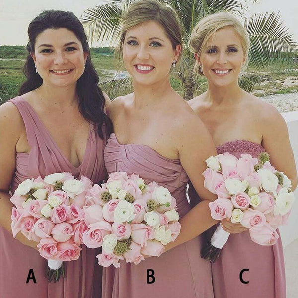 cb1981c4c99b Dusty Pink A-Line Long Chiffon Modest Unique Soft Elegant Hot Sale Mismatched  Bridesmaid Dresses