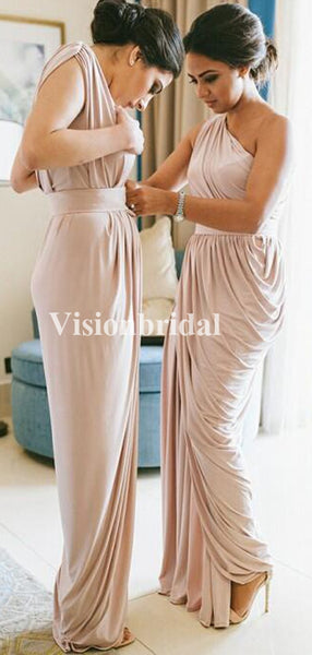 Simple One Shoulder Sheath With Pleated Bridesmaid Dresses, VB02789