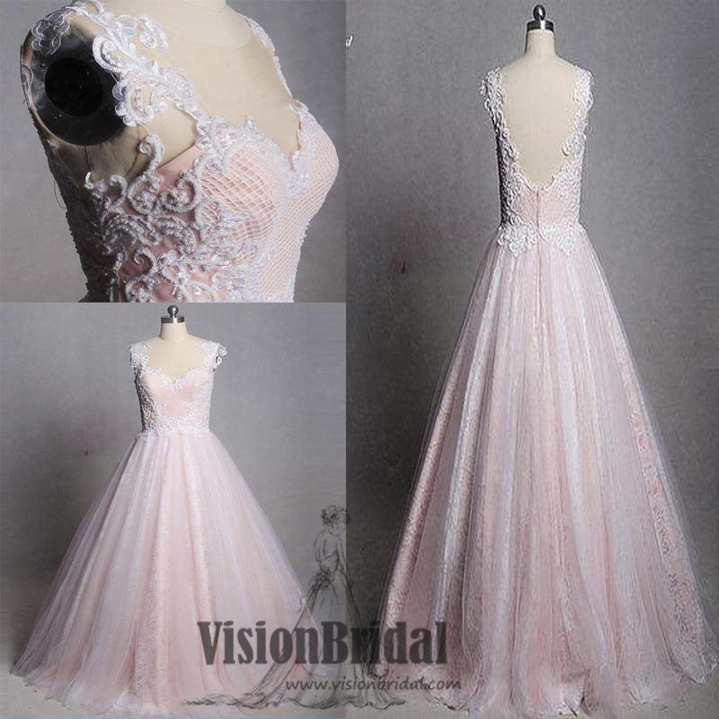 Lovely Pink Lace Cap Sleeves V-Back Zipper Up A-Line Floor Length Princess Prom Dress, VB0426 - Visionbridal