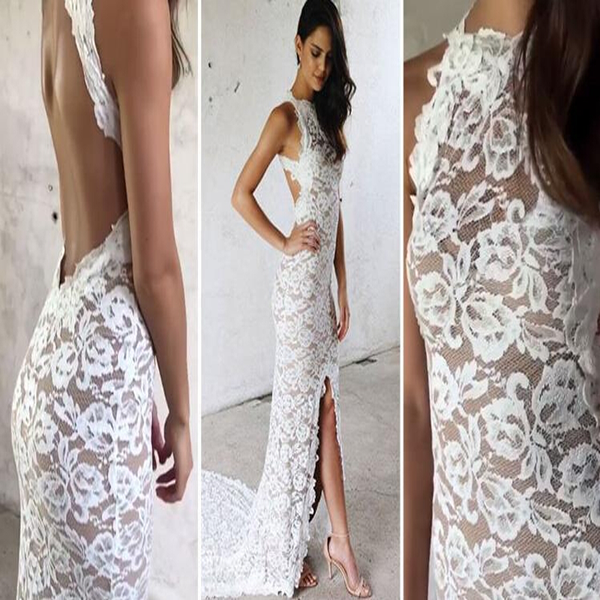 Backless White Lace Wedding Dress, Sleeveless Wedding Dress, Sexy Wedding Dress, Side Slit Wedding Dress, VB055 - Visionbridal