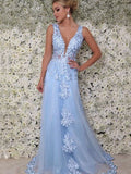 Shinny Blue V Neck A Line Tulle Prom Dresses With Appliques, VB03561