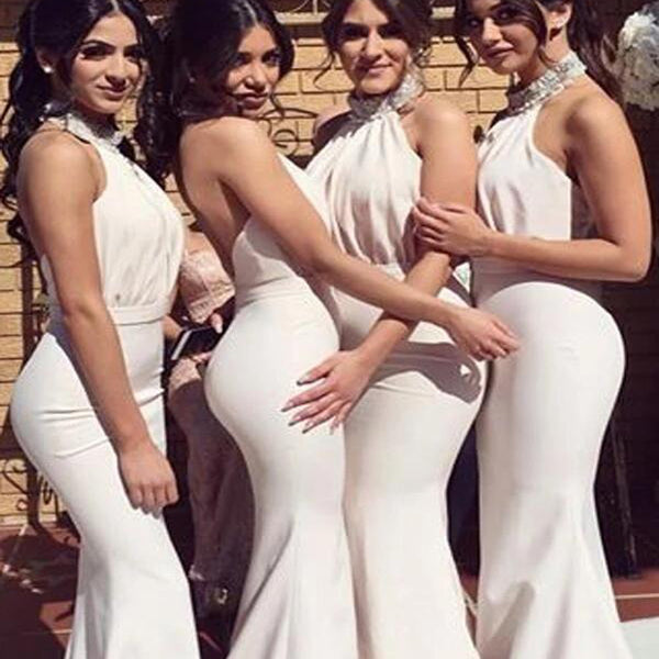 Charming High Neck Long Mermaid Bridesmaid Dresses, Bridesmaid Dresses, VB02468