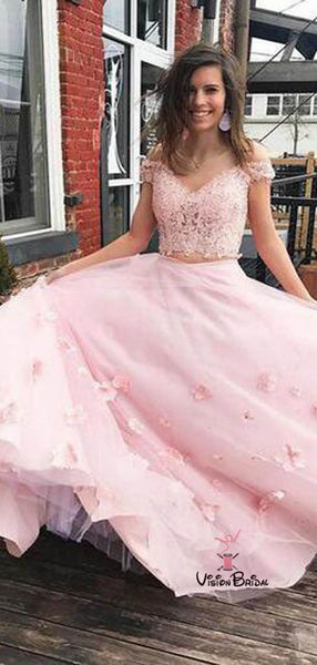 2019 Pink Off Shoulder Lace Top Two Pieces Long A-Line Tulle Prom Dresses With Appliques, Prom Dresses, VB02226