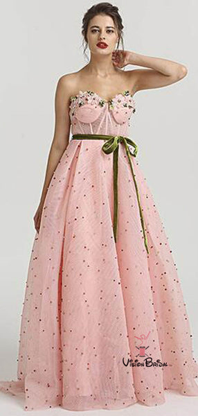 Alluring Beading Sweetheart Zipper Up Long A-Line Prom Dresses With Sash, Prom Dresses, VB02227