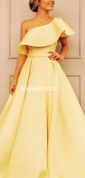 Classy Yellow One Shoulder A-Line Satin Prom Dresses, 2020 Prom Dresses, VB03515