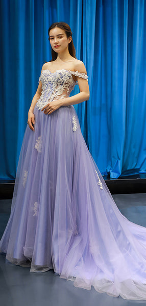 Gorgeous Off Shoulder With Appliques Lace Up Tulle Prom Dresses, VB03562
