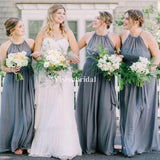 Simple Halter Long A-Line Chiffon Bridesmaid Dresses, VB02711