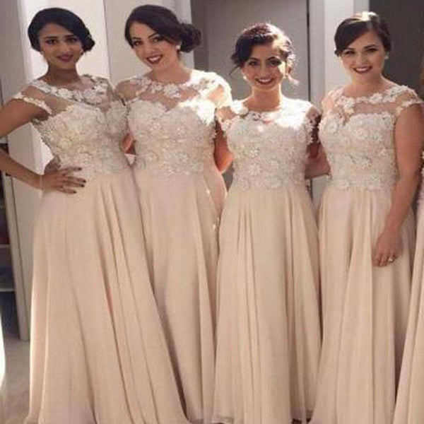 Charming Illusion Cap Sleeve Long A-Line Chiffon Bridesmaid Dresses, Top Appliques Bridesmaid Dresses, VB02174