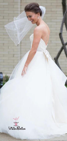 Classy Sweetheart Long A-Line Tulle Wedding Dresses With Beaded, Wedding Dresses, VB02438