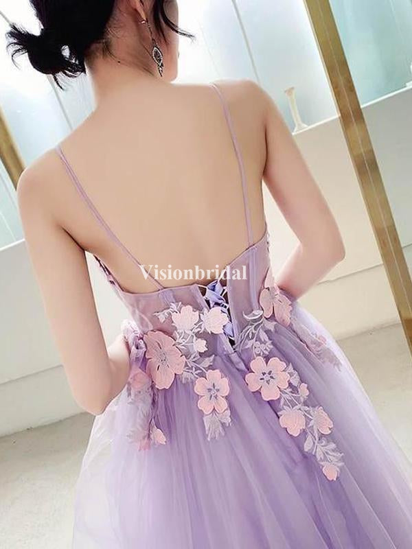 Lavender Alluring Spaghetti Straps Lace Up With Appliques Prom Dresses, VB02995