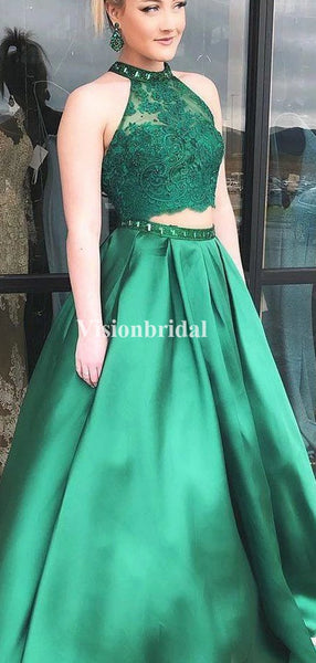 Elegant Green Two Pieces Lace Top A-Line Satin Prom Dresses, VB03517