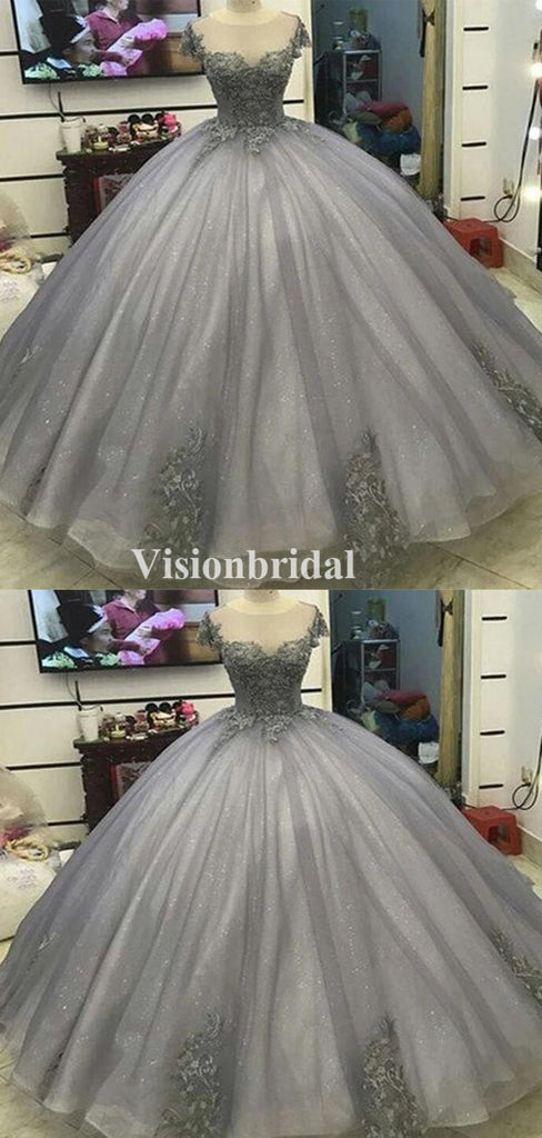 Gorgeous Grey Cap Sleeve Lace Top Ball Gown Prom Dresses, VB03384