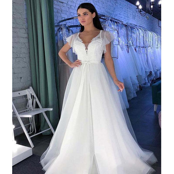 Charming White Lace Top Cap Sleeve Long A-Line Tulle Prom Dresses, Hot Sale 2019 Prom Dresses, VB01905