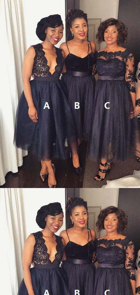 4f4b57c01d11 Sexy Mismatched Knee-Length Short A-Line Tulle Bridesmaid Dresses, Inexpensive  Bridesmaid Dresses
