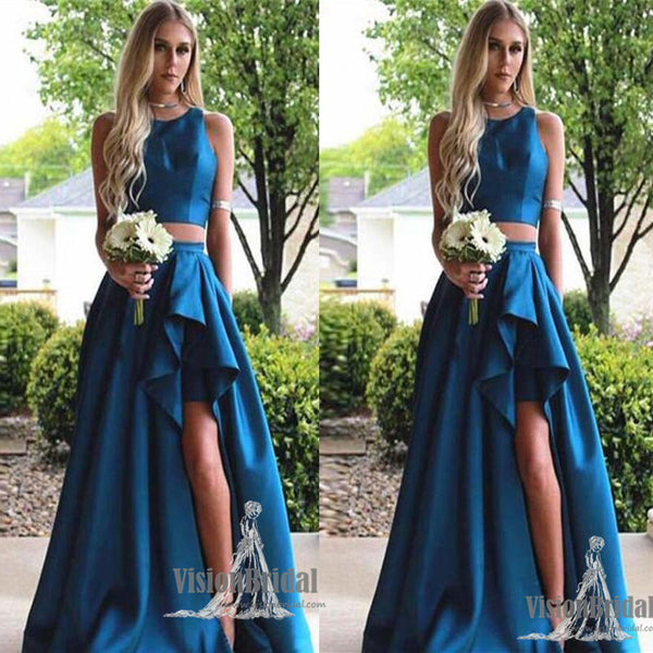 Unique Royal Blue Round Neck A-Line Long Side Slit Prom Dress With Ruffles, Modest Two Pieces Satin Prom Dress, VB0567