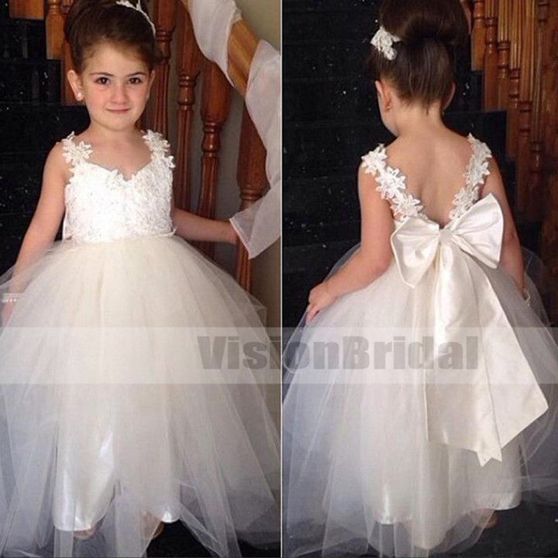 Cute Top Lace Appliques V-Back Tulle Ball Gown Flower Girl Dresses With Bow-Knot, Lovely Flower Girl Dresses, VB0827