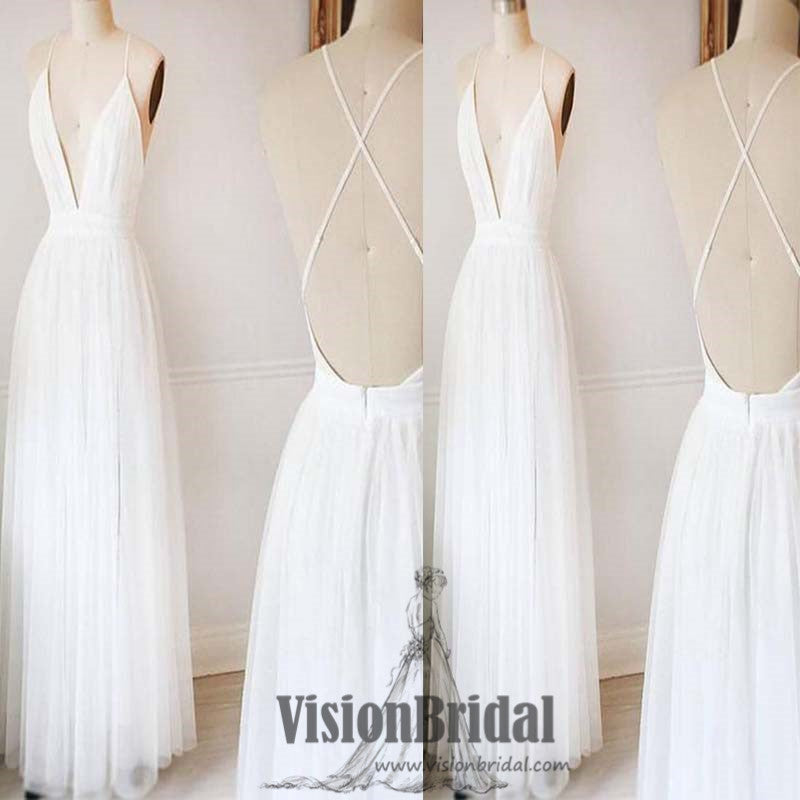 White Spaghetti Straps Deep V-Neck Crisscross Back A-Line Long Prom Dress, Simple Prom Dress, VB0427 - Visionbridal