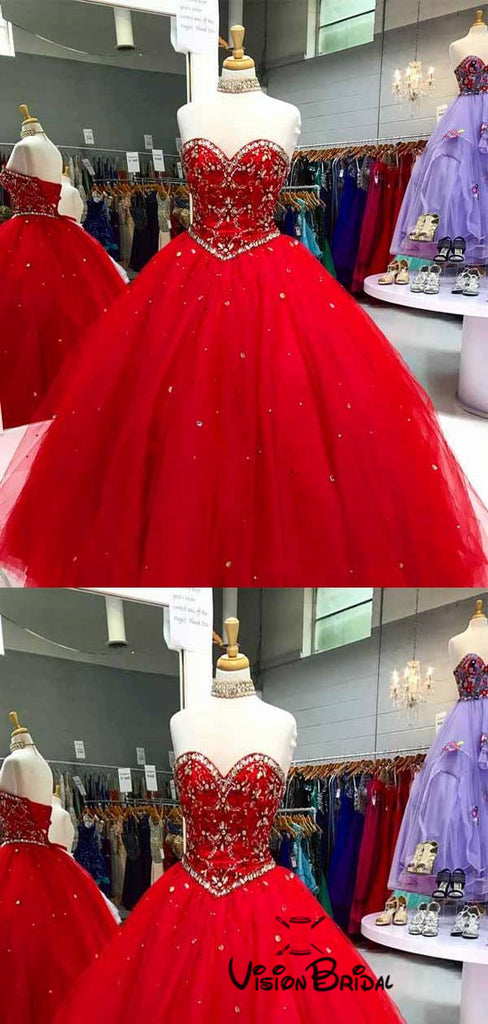 Gorgeous Red Sweetheart Beading Ball Gown Long Puffy Tulle Prom Dresses, Prom Dresses, VB01307
