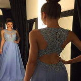 Elegant Lavender Scoop Neckline Lace Top Long A-Line Tulle Prom Dresses, Beading Shinny Prom Dresses, VB01192