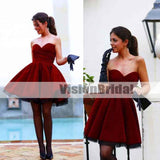 Burgundy Short/Mini Party Cocktail Dresses, Sweetheart Homecoming Prom Evening Gowns, Homecoming Dresses, VB0848