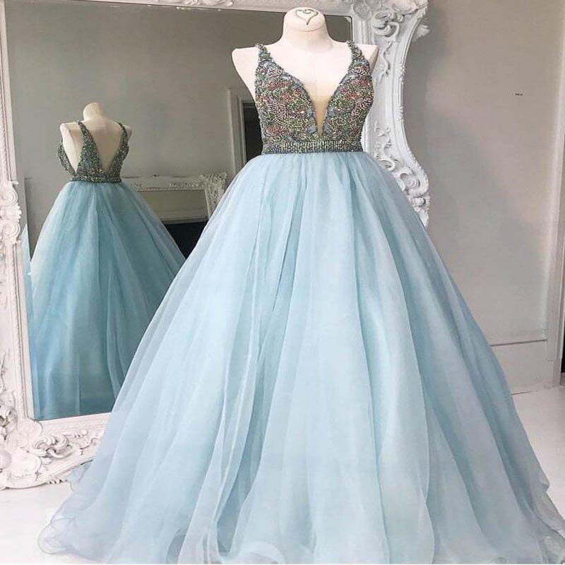 Simple Light Blue V-Neck V-Back Long A-Line Tulle Prom Dresses With Rhinestones, Cheap Prom Dresses, VB01153