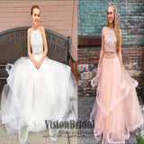 Beautiful And Charming Two Pieces Beading Top Layer Organza Long Prom Dress, Prom Dress, VB0524 - Visionbridal
