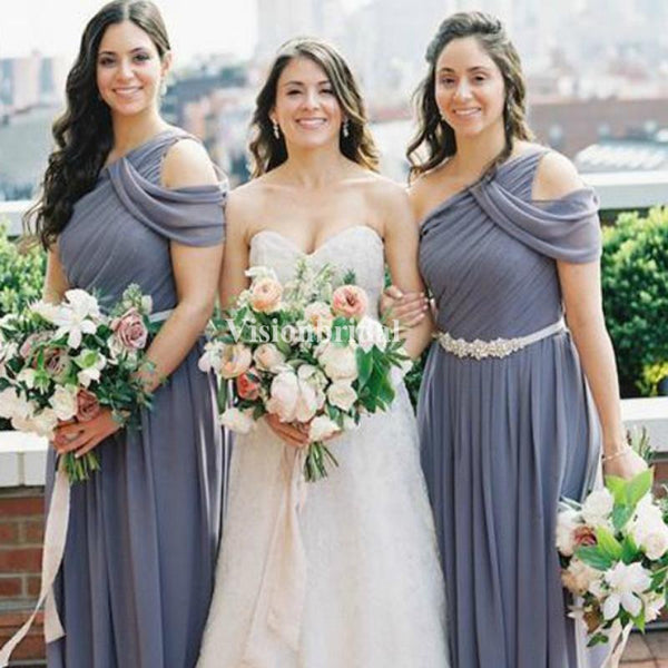 Unique Light Purple One Shoulder With Beading Band A-Line Chiffon Bridesmaid Dresses, VB03727