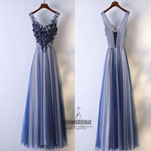 Cute V-Neck Rhinestone Applique Lace Up A-Line Long Tulle Prom Dress, Beautiful Prom Dress, VB0512 - Visionbridal