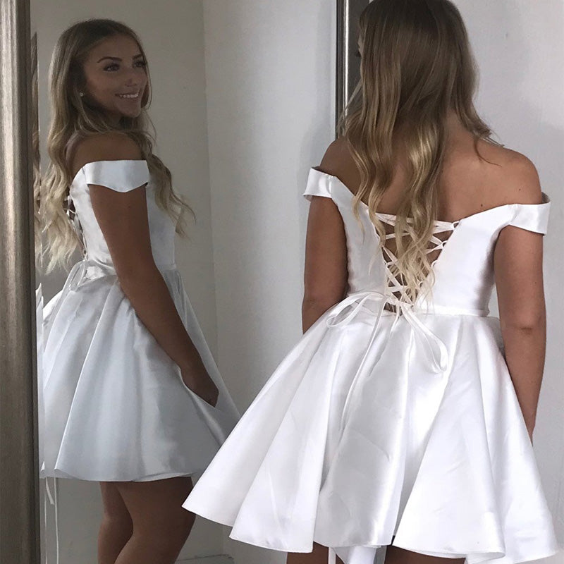 Simple White Off Shoulder Lace Up A-Line Short Homecoming Dresses, Freshman Homecoming Dresses, VB01167