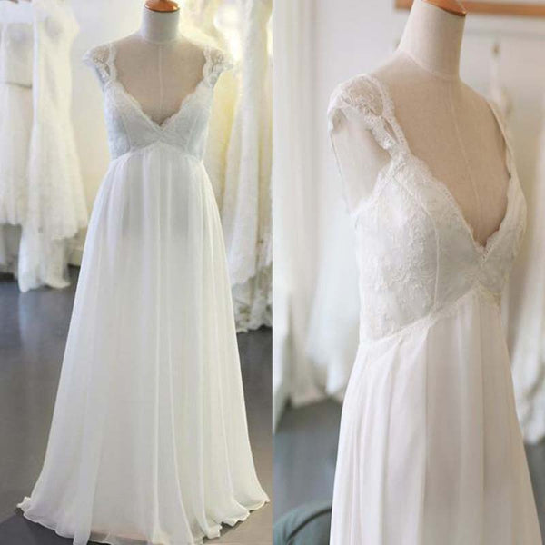 Cap Sleeve V Neck Casual Simple Beach Wedding Dresses Wedding Dress Vb0663 Cap Sleeve V Neck Casual Simple Beach Wedding Dresses Wedding Dress