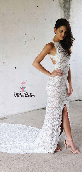 Backless White Lace Wedding Dress, Sleeveless Wedding Dress, Sexy Wedding Dress, Side Slit Wedding Dress, VB055
