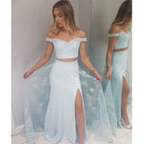 Baby Blue Off The Shoulder Two Pieces Prom Dresses With Lace, Side-Slit Prom Dresses, VB01606