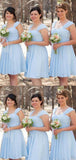Charming Baby Blue Straps Short A-Line Chiffon Bridesmaid Dresses, 2019 Bridesmaid Dresses, VB02405