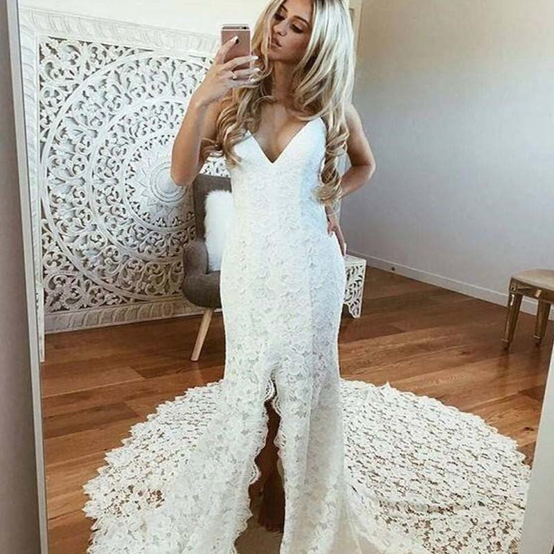 Charming Ivory V-Neck Long Mermaid Side-Slit Wedding Dresses With Trailing, Wedding Dresses, VB01484