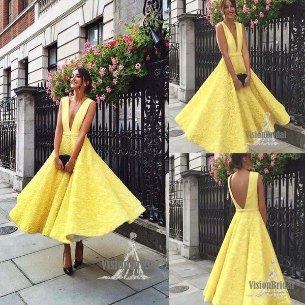 2c27e9307c1 Charming Eye-Catcher Yellow Deep V-Neck A-Line With Lace Prom Dress ...