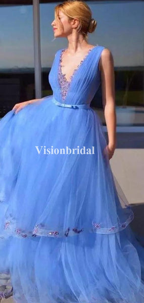 Alluring Blue V-Neck With Appliques Layered Prom Dresses, VB03671